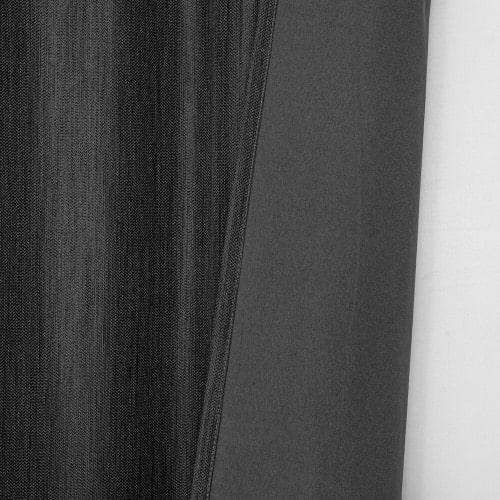 Marion gordijn 100% lichtdicht met plooiband Antraciet stofdetail met achterkant