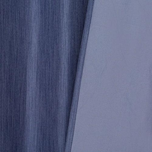 Marion gordijn 100% lichtdicht met plooiband Blauw stofdetail voorkant en achterkant