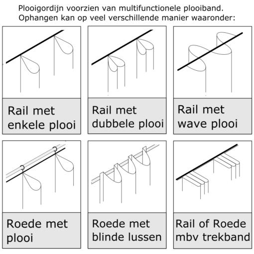 ophangmethoden gordijn met multifunctionele plooiband